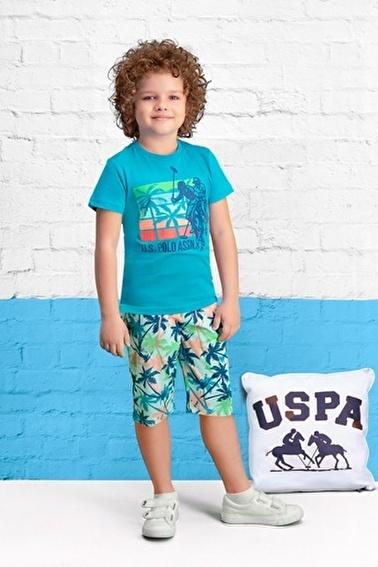 U.S. Polo Assn. U.S. Polo Assn Lisanslı Petrol Erkek Çocuk Kapri Takım Yeşil